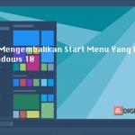 Windows 10 Start Menu hilang